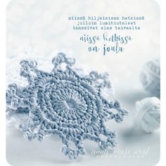 square christmas card with corners rounded. The card material is matte and the size is 13 x 14 cm. Crochet Snowflake Pattern, Crochet Snowflakes, Crochet Art, Crochet Home, Christmas And New Year, Winter Christmas, Christmas Crafts, Christmas Decorations, Xmas