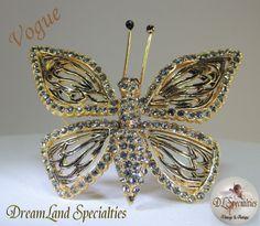 Vogue Rhinestone Enamel Large Shimmering Brooch by DLSpecialties, $82.00