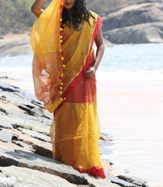 Yellow & Red Bengal Handloom Saree