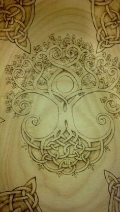Celtic Tree of Life Large Beech Wood Bowl with Pyrography---Tattoo! MAke the center moon circle an acorn! Tree Roots Tattoo, Tree Tattoo Back, Celtic Symbols, Celtic Art, Celtic Knots, Mayan Symbols, Egyptian Symbols, Ancient Symbols, Celtic Patterns