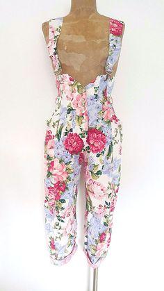 Floral Bib Overalls Size Small Karen Alexander Pants Vintage 80s Jumpsuit Grunge #KarenAlexander #Jumpsuit