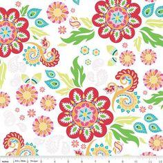 Madhuri Red Flower Fabric by The Quilted Fish from Riley Blake Fabrics