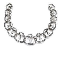 Exquisite Silver-Topped Gold and Diamond Necklace, René Lalique for Lacloche Frères, Paris