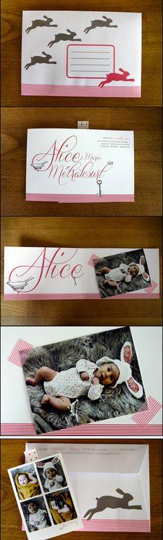 Faire-part de naissance de notre petite Alice / birth announcement. Alice in wonderland birth announcement