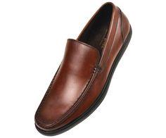 Asher Green Mens Tan Genuine Leather Moc Toe Slip On Dress Shoe Finlay-028 #AsherGreen #LoafersSlipOns
