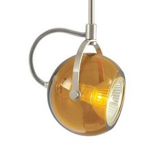 "Tech Lighting Pod 1 Light Monorail Track Head Shade Color: Amber, Finish: Satin Nickel, Size: 18"" H x 2.5"" W x 2.5"" D"