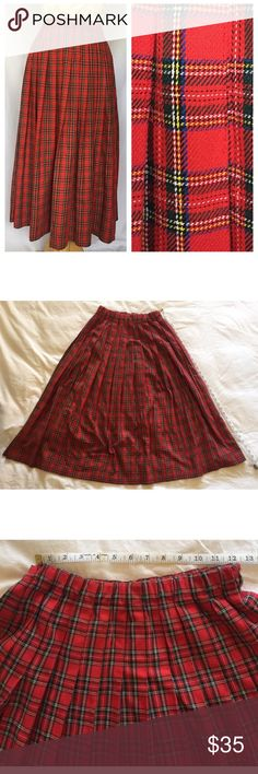 "Vintage Midi Skirt Red Green Yellow Plaid Vintage Pleated Midi Skirt Red Green Yellow Plaid 50% Rayon 50% Polyester  Great Condition Elastic Waist stretches 30"" to 38"" Hips Free Length 32"" Vintage Skirts Midi"