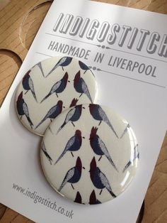 Stunning Liberty Pauly Parrot Pocket Mirror by indigostitch, £3.50