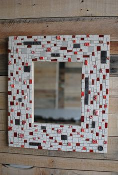 Mosaic Art Mirror Frame in Red White and Grey. by PhoenixHandcraft, $300.00