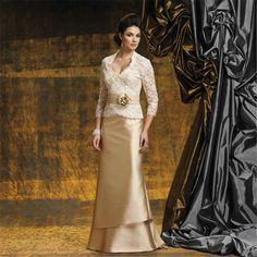 Moda elegante champagne 2017 3/4 mangas Mãe da Noiva vestidos com jacket apliques de renda vestido de mulheres para festa formal em Mãe dos Vestidos de Noiva de Casamentos & Eventos no AliExpress.com | Alibaba Group