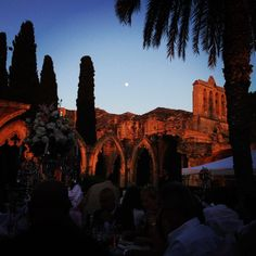 NORTHERN CYPRUS - Night time #wedding breakfast at Bellapais Abbey are truly spectacular. It is one of the best examples of Gothic architecture in Europe & remains in a wonderful state of preservation, providing a haven of peace and tranquility. Surrounded by the arches of a 13th century abbey, with a backdrop of rugged mountains and spectacular views down to the Mediterranean, make it a wonderfully unique venue for a destination wedding in Cyprus.