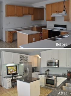 Great kitchen before and after, renovation. Love the awkward space above the fri… Great kitchen before and after, renovation. Love the awkward space above the fridge turned into a wine rack. Kitchen Redo, Kitchen Dining, Kitchen Cabinets, Kitchen Makeovers, White Cabinets, Cheap Cabinets, Kitchen Cupboard, Oak Cabinets, Kitchen Layout