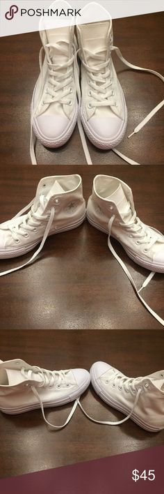 All white converse In perfect condition! No flaws! Size 6.5. Feel free to ask questions :) Converse Shoes Sneakers