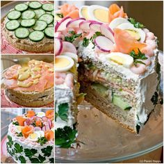 A Smörgåstårta isn't quite cake and it isn't quite sandwich, 15 recipes. Sandwhich Cake, Sandwich Torte, Sandwich Cookies, Sandwich Recipes, Tea Sandwiches, Kiwi Fruit Cake, Swedish Recipes, Healthy Cake, Easy Cake Recipes