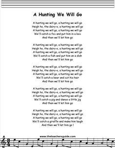 A Hunting We Will Go lyrics, printout, midi, and video. Preschool Poems, Kindergarten Songs, Kids Poems, Preschool Music, Children Songs, Silly Songs, Baby Songs, Songs To Sing, Nursery Rhymes Lyrics