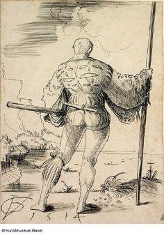 1514 - Urs Graf - Reisläufer vor Seelandschaft in Rückansicht (Warrior in front of seascape, rear view)