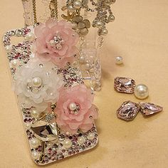 Crystal+Alloy+Pearl+Flower+diy+deco+phone+case+by+MegaSuperStore,+$7.90