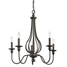 With an Olde Bronze finish, candelabra bulbs and its cage-like look, Kichler's Kensington Collection hearkens back to traditional styling.