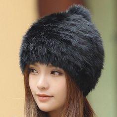 8d122fb149b Winter Beanies For Women Real Fox Mink Fur Hat Hats Pom Poms Caps Beanie  Bonnet