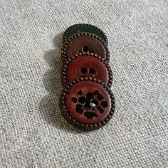 Vintage leather buttons Old round buttons Braun tooled by MyWealth