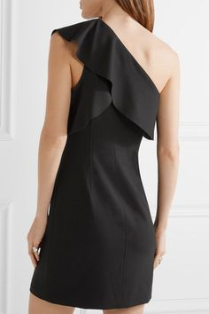 Elizabeth and James - Jerard One-shoulder Ruffled Stretch-ponte Mini Dress - Black - US6