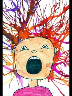 Crazy hair day portraits - using watercolours and straws
