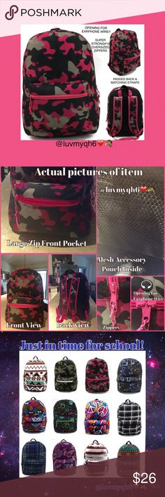 "LAST ONE Pink Camo Backpack Back packs designed in popular prints and multi-color designs. Great styles for both boys and girls perfect for all ages! Measures 17"" x 12"" x 6"" with a large main compartment & front pocket. Maximum storage of books, folders, & more. Made of 300HD polyester, has a padded back, padded adjustable matching adjustable back straps. Durable 10X zippers. On top of the bag is an opening for earphones and the mesh covered handle also adds comfort when handling the bag…"