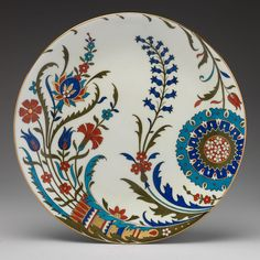 Inscription: In red enamel, on reverse: symbol ^ above dot;Marking: Impressed, on reverse: Minton; Turkish Plates, Turkish Art, Stoke On Trent, Blue Pottery, Pottery Art, Pottery Painting, Ceramic Painting, Hand Painted Plates, Arabic Art