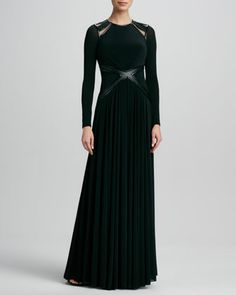 Leather-Trim+Long-Sleeve+Gown+by+Catherine+Deane+at+Neiman+Marcus.