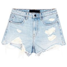 Alexander Wang 'Bite' distressed cut-off denim shorts (310 NZD) ❤ liked on Polyvore featuring shorts, bottoms, pants, blue, high-waisted shorts, distressed high waisted shorts, denim cut-off shorts, denim shorts and ripped jean shorts