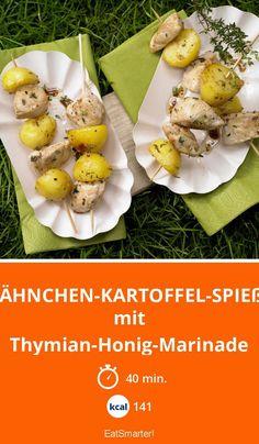 Hähnchen-Kartoffel-Spieße - mit Thymian-Honig-Marinade - smarter - Kalorien: 141 Kcal - Zeit: 40 Min. | eatsmarter.de