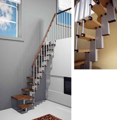 Tiny house adjustable modular stairs by Margery.pull them out when needed tucked back out of the way when you don't. Small Space Stairs, Small Staircase, Loft Staircase, Open Stairs, Small Space Kitchen, Small Spaces, Staircase Ideas, Rustic Staircase, Spiral Staircases