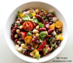 Summer Three Bean Salad with Hemp Oil and Heirloom Tomatoes Recipe from The Hungry Goddess. Heirloom Tomato Recipes, Heirloom Tomatoes, Three Bean Salad, My Bean, Three Beans, Vegetarian Recipes, Cooking Recipes, Bean Salad Recipes, Cravings