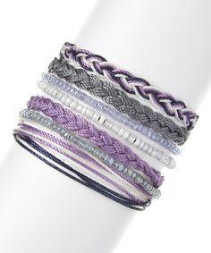 Another great find on #zulily! Purple & Gray Lavender Fields Sliding-Knot Bracelet Set by Domo Beads #zulilyfinds
