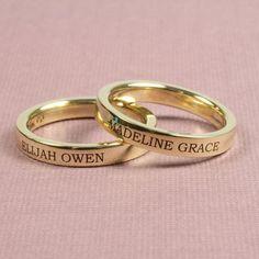 3mm Engraved 14k Gold Flat Wedding Band - złote obrączki ślubne z napisami