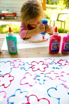 elmers glue and acrylic paint make puff-paint-like paint in its own handy container.