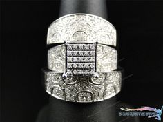 Diamond Trio Wedding Ring His Hers Bands Set And 10K White Gold 2.76 Ct #Silvergemsjewelry #WeddinganniversaryValentinesPromiseGift