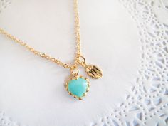 Personalized Turquoise Gold Heart Neacklace  by LaLiLaJewelry, $20.00