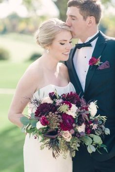 purple and pink wedding, dahlia bouquet, fall wedding inspiration, plum boutonniere, from purple jewel toned romantic Riverbend Golf and Country Club Virginia wedding with Kristen Gardner Photographer