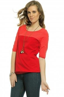 Color Block Top - Scarlet Red  Lace Top #2dayslook #LaceTop #kelly751 #anoukblokker  www.2dayslook.com