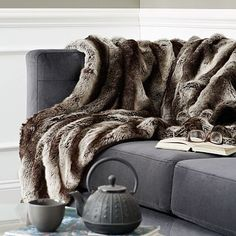 Faux Fur Ombre Throw - Gray | West Elm- A blanket for the BEARS-$79