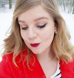 Pink eyemakeup, red lips, winged eyeliner. - http://www.liseemilia.com/