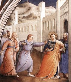 """artist-angelico: """" St. Stephen Being Led to his Martyrdom by Fra Angelico Medium: fresco, wall"""""""