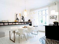 Scandinavian style. Nice floating bookshelf.