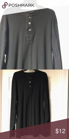 BLACK LONG SLEEVE HENLEY Black, long sleeve, Prints on Finery, Henley style shirt by Old Navy. Great condition. 100% cotton. Old Navy Shirts