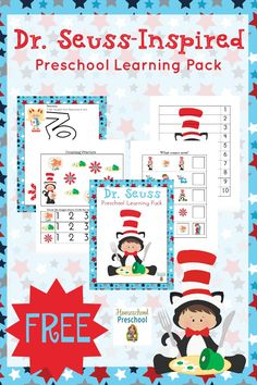 Dr. Seuss's birthday is next month. Let's celebrate with a fun Dr. Seuss-inspired preschool printable full of fun activities for your little ones to enjoy! | homeschoolpreschool.net