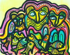 """Tres Gatos"" Abstract Acrylic on Canvas (16"" x 20"") **"