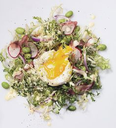Eggs Benedict Salad  It's the classic brunch dish—in salad form. Frisée, edamame, radishes, and red onions are sprinkled with prosciutto, then topped with a poached egg and hollandaise. For egg-poaching help, see our tip on how to poach an egg or egg-poaching tips, see our video demonstrating poaching an egg