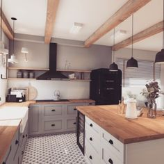How about the details in this kitchen. Love the rustic beams! Loft Kitchen, Kitchen Dining Sets, Open Plan Kitchen, Home Decor Kitchen, New Kitchen, Home Kitchens, Closed Kitchen Design, Kitchen Cabinetry, Kitchen Countertops