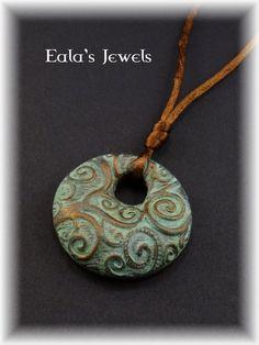 Golden spiral garden round pendant by Shatiel85.deviantart.com on @DeviantArt
